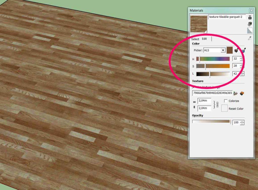 modifier la couleur d'une texture sous sketchup